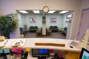 Inside waiting room and reception area of Preferred Dental Care.